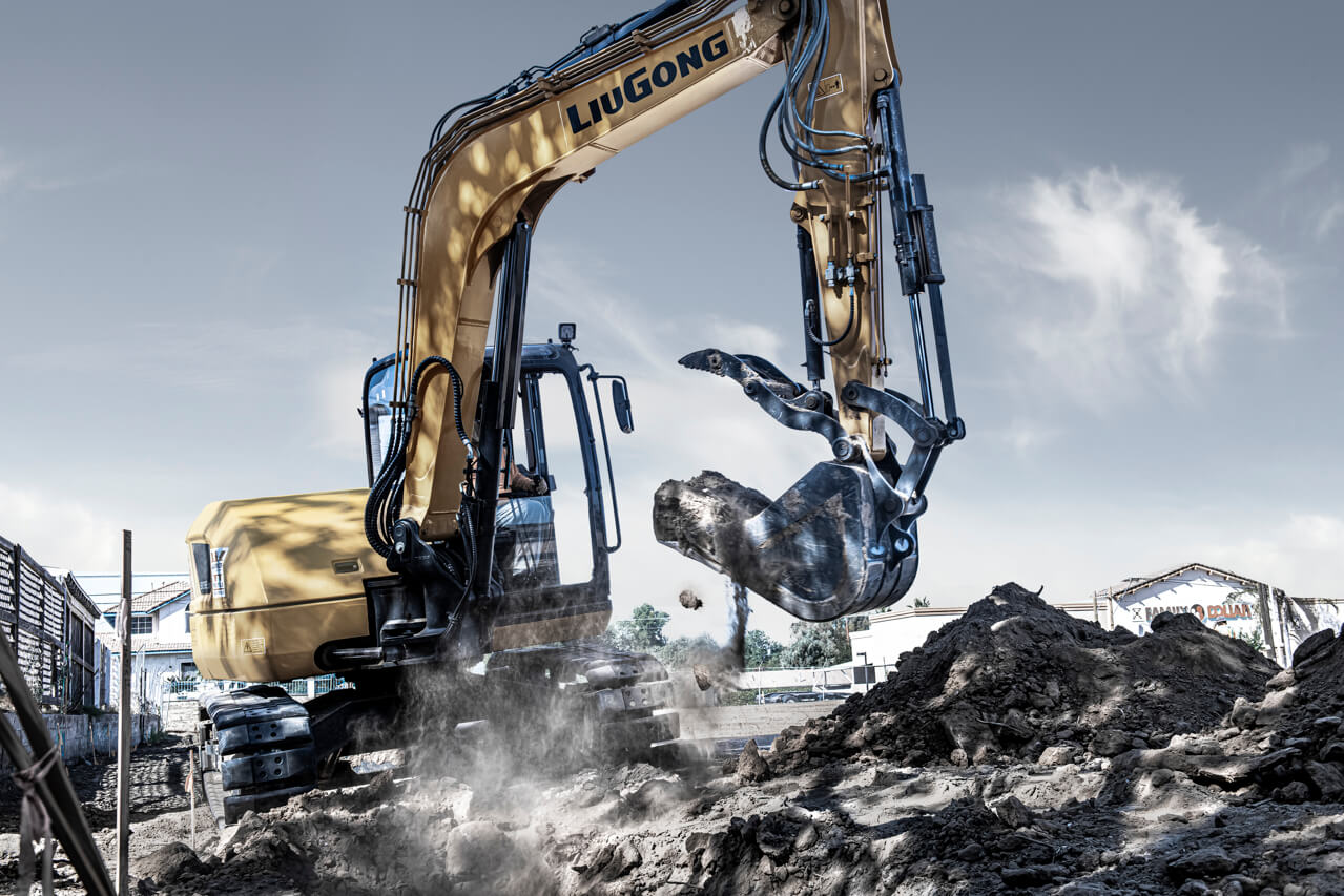 Industrial assignment including LiuGong Excavator for branding project.