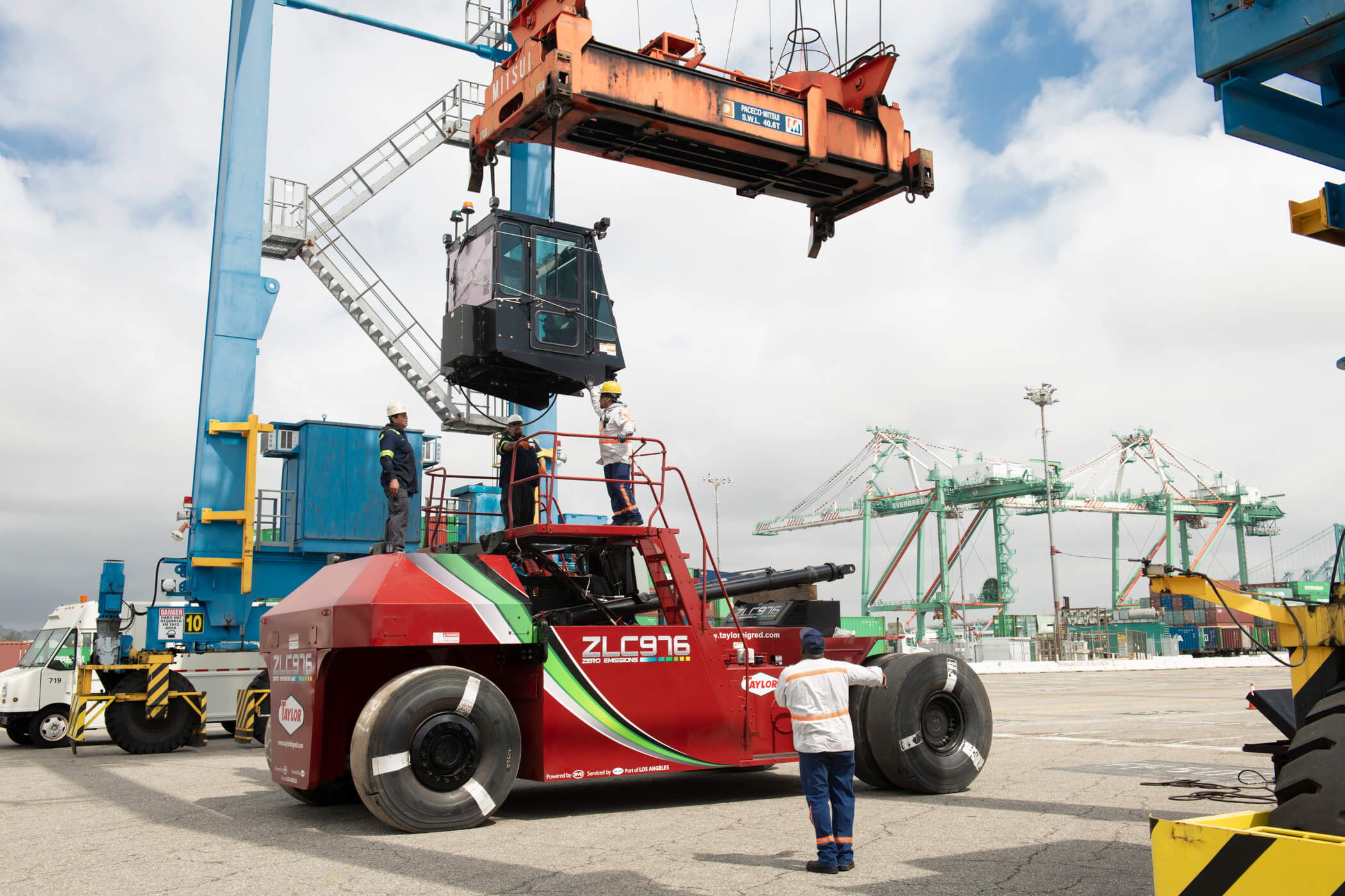 Assembling the first electric heavy lift forklift at the Port of Los Angeles. Shot for Taylor Machines