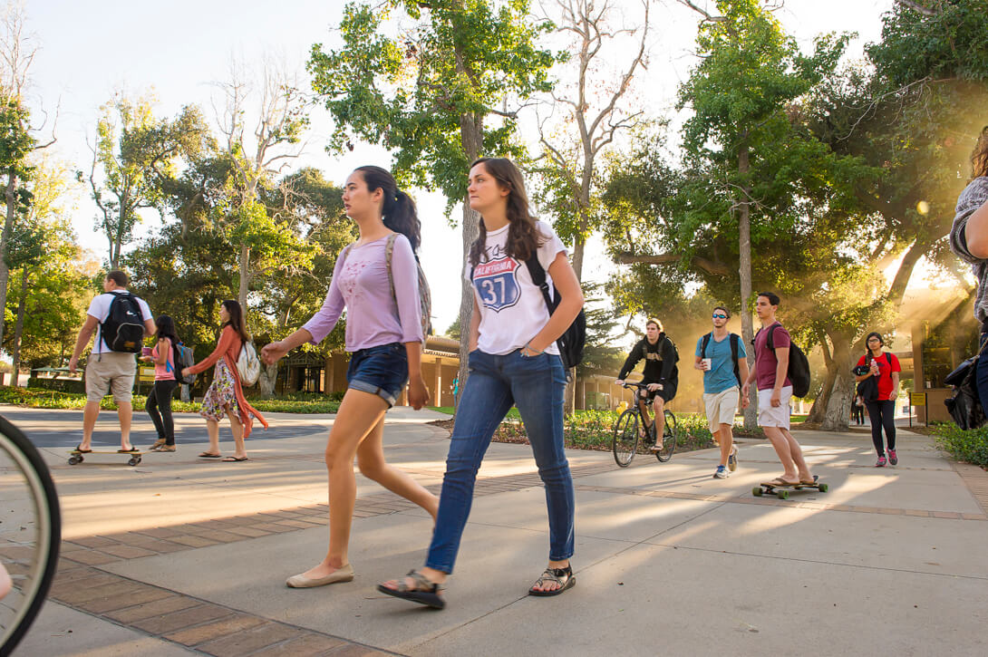 Students going to class at the HMC campus. Harvey Mudd College
