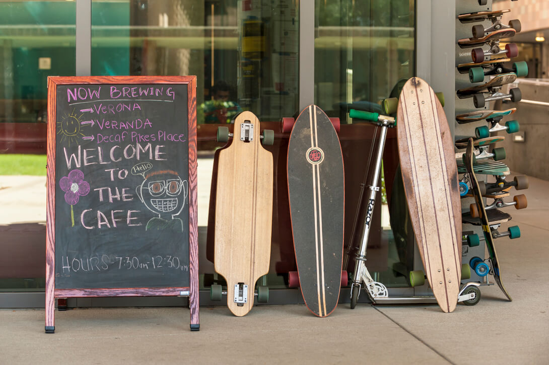 Skate boards are the primary mode of transportation at HMC. Harvey Mudd College